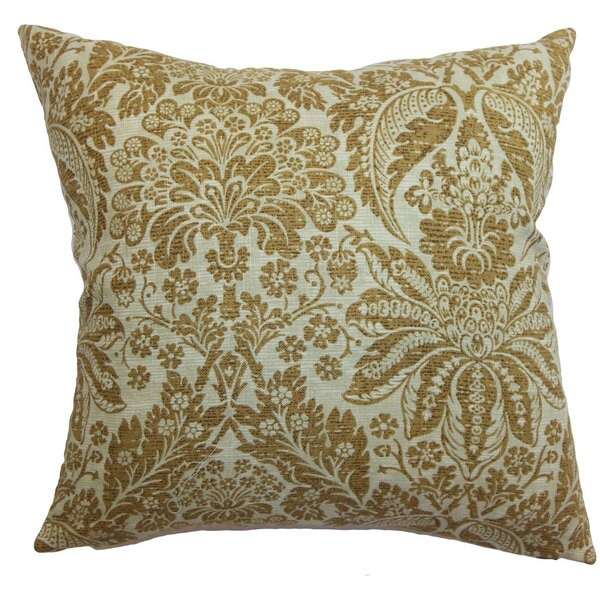 Harmony Floral 22-inch Down Feather Throw Pillow Brown