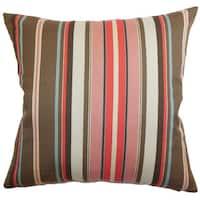 "Janeah Stripes 22"" x 22"" Down Feather Throw Pillow Multi"