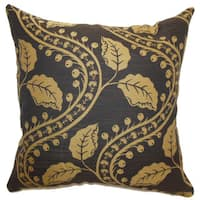 Uzma Floral 22-inch Down Feather Throw Pillow Brown