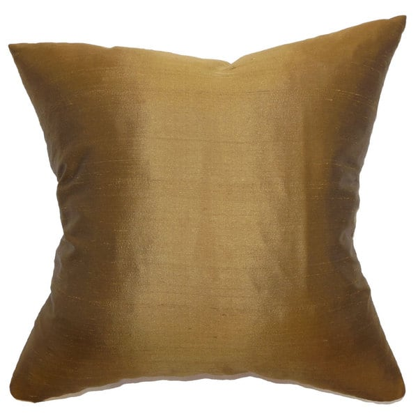 "Wantliana Solid 22"" x 22"" Down Feather Throw Pillow Copper"
