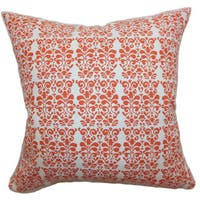 Silvia Floral 22-inch Down Feather Throw Pillow Persimmon