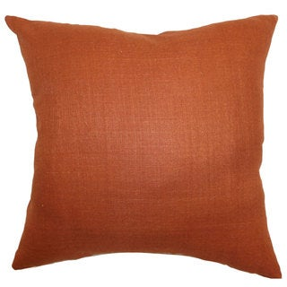 "Zaafira Solid 22"" x 22"" Down Feather Throw Pillow Rust"