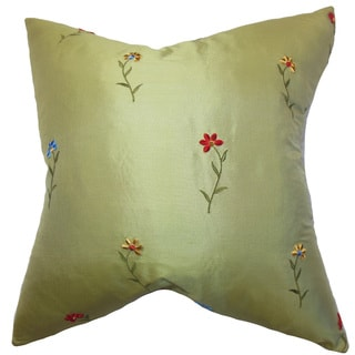 Daithi Floral 22-inch Down Feather Throw Pillow Green