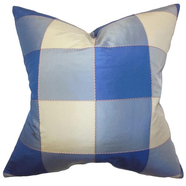 "Keats Plaid 22"" x 22"" Down Feather Throw Pillow Blue"