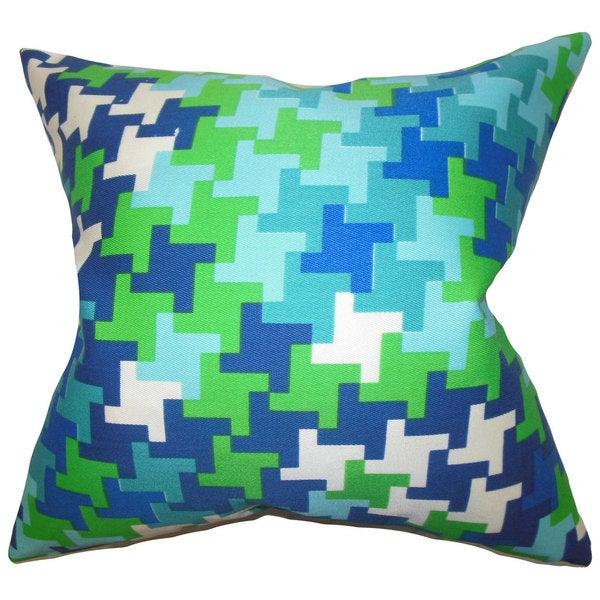 "Ciel Geometric 22"" x 22"" Down Feather Throw Pillow Blue Green"