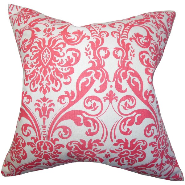 Saskia Damask 22-inch Down Feather Throw Pillow Candy Pink