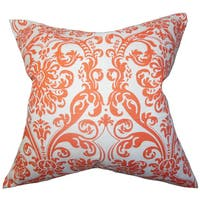 Saskia Damask 22-inch Down Feather Throw Pillow Orange