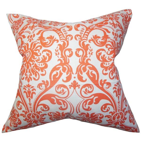 Saskia Damask 22-inch Down Feather Throw Pillow Orange