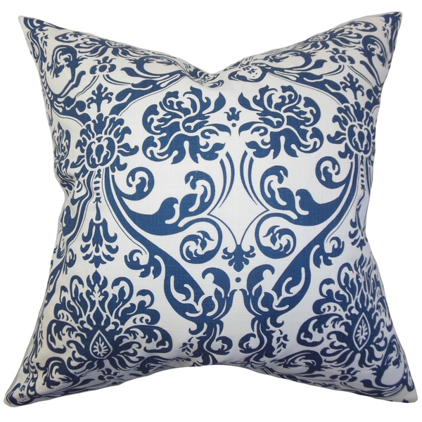 Saskia Damask 22-inch Down Feather Throw Pillow Navy Blue