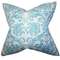 Saskia Damask 22-inch Down Feather Throw Pillow Sky Blue