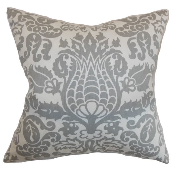 "Dolbeau Floral 22"" x 22"" Down Feather Throw Pillow Storm"
