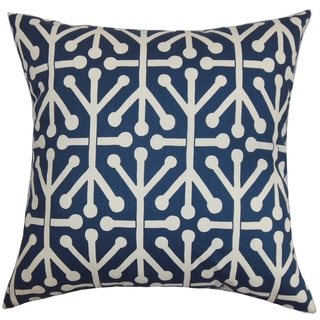 Heath Geometric 22-inch Down Feather Throw Pillow Blue Natural