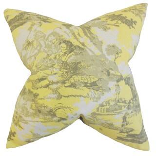 """Folami Toile 22"""" x 22"""" Down Feather Throw Pillow Yellow"""