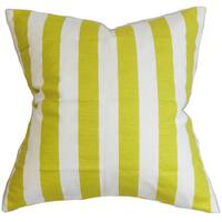 Ilaam Stripes 22-inch Down Feather Throw Pillow Green