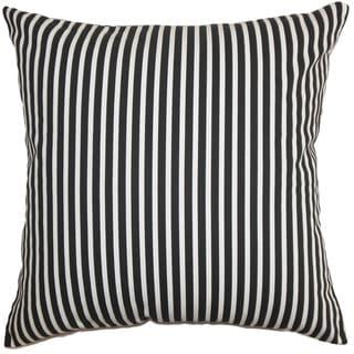 Elvy Stripes 22-inch Down Feather Throw Pillow Black White