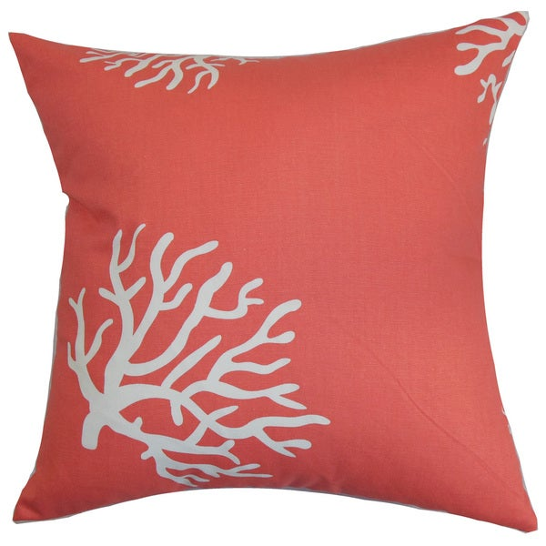 Jessamine Coral 22-inch Down Feather Throw Pillow Coral White