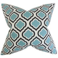 Abijah Geometric 22-inch Down Feather Throw Pillow Blue