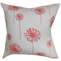 """Dandelion Floral 22"""" x 22"""" Down Feather Throw Pillow White Coral"""
