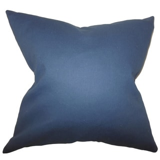 """Kalindi Solid 22"""" x 22"""" Down Feather Throw Pillow Blue"""