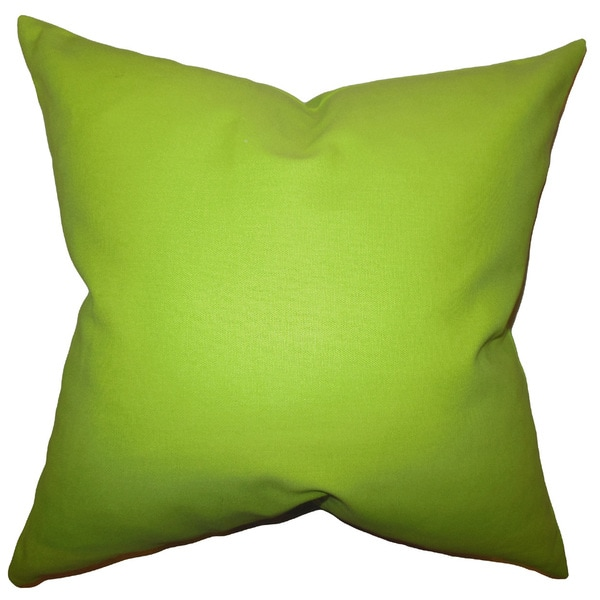 """Kalindi Solid 22"""" x 22"""" Down Feather Throw Pillow Chartreuse"""