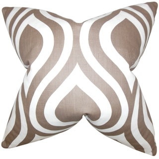 Larch Geometric 22-inch Down Feather Throw Pillow Brown