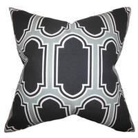 Kasiani Geometric 22-inch Down Feather Throw Pillow Grey