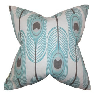 """Hedy Feather 22"""" x 22"""" Down Feather Throw Pillow Blue"""