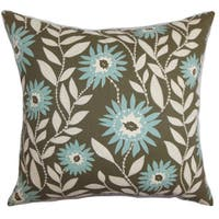 Leena Floral 22-inch Down Feather Throw Pillow Blue Brown