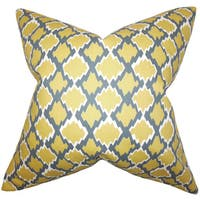 """Welcome Geometric 22"""" x 22"""" Down Feather Throw Pillow Yellow"""