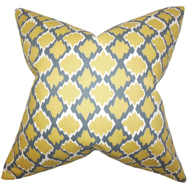 "Welcome Geometric 22"" x 22"" Down Feather Throw Pillow Yellow"