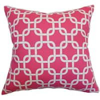 Qishn Geometric 22-inch Down Feather Throw Pillow Candy Pink