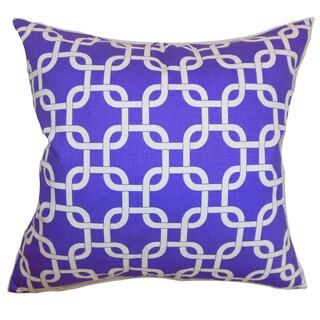 "Qishn Geometric 22"" x 22"" Down Feather Throw Pillow Purple White Twill"