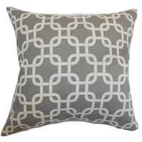 "Qishn Geometric 22"" x 22"" Down Feather Throw Pillow Summerland Grey"