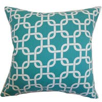Qishn Geometric 22-inch Down Feather Throw Pillow Turquoise