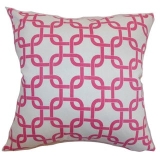 Qishn Geomatric 22-inch Down Feather Throw Pillow White Candy Pink