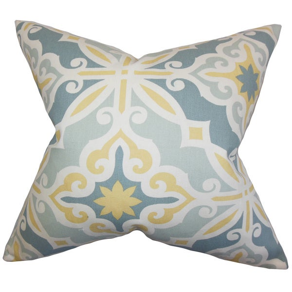 "Adriel Geometric 22"" x 22"" Down Feather Throw Pillow Blue"