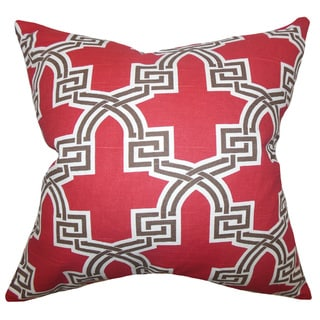 Letha Geometric 22-inch Down Feather Throw Pillow Red