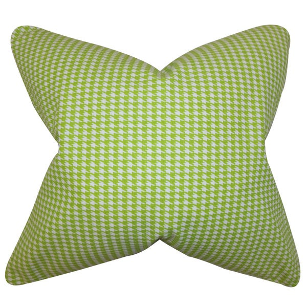 Lviv Houndstooth 22-inch Down Feather Throw Pillow Green