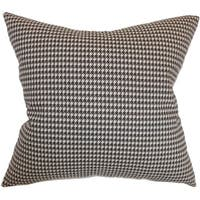 "Lviv Houndstooth 22"" x 22"" Down Feather Throw Pillow Chocolate Linen"