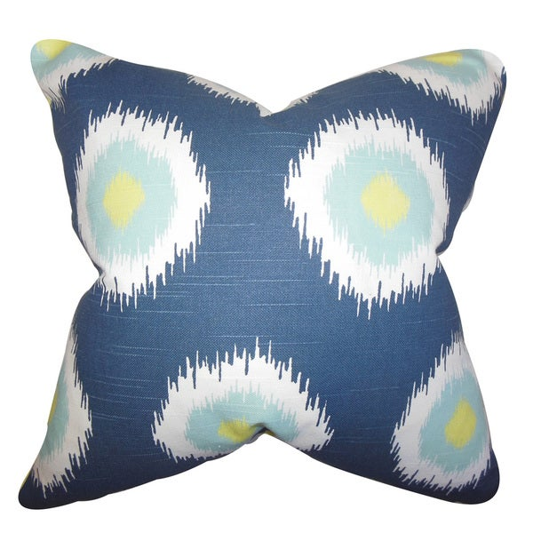 Paegna Ikat 22-inch Down Feather Throw Pillow Blue
