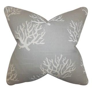 """Hafwen Coastal 22"""" x 22"""" Down Feather Throw Pillow Gray"""