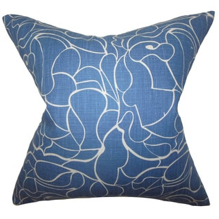 """Floral 22"""" x 22"""" Down Feather Throw Pillow Blue"""