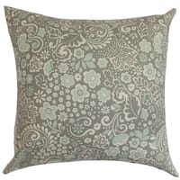 """Manchineel Floral 22"""" x 22"""" Down Feather Throw Pillow Porcelain Blue"""
