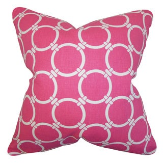 Betchet Geometric 22-inch Down Feather Throw Pillow Candy Pink