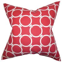 """Betchet Geometric 22"""" x 22"""" Down Feather Throw Pillow Red"""