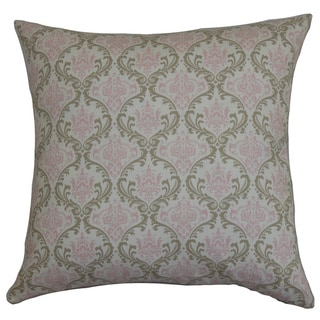 "Paulomi Damask 22"" x 22"" Down Feather Throw Pillow Green Pink"