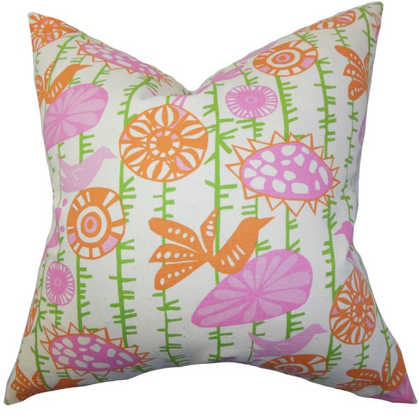 "Nettle Floral 22"" x 22"" Down Feather Throw Pillow Pink"