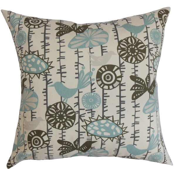 Nettle Floral 22-inch Down Feather Throw Pillow Village Blue Natural