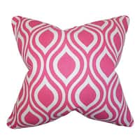 Poplar Geometric 22-inch Down Feather Throw Pillow Candy Pink