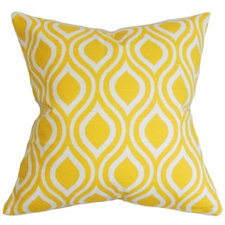 Poplar Geometric 22-inch Down Feather Throw Pillow Yellow